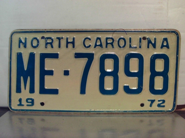 1972 North Carolina NC Passenger YOM License Plate ME-7898 Mint