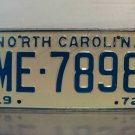 1972 North Carolina NC Passenger YOM License Plate ME-7898 Mint