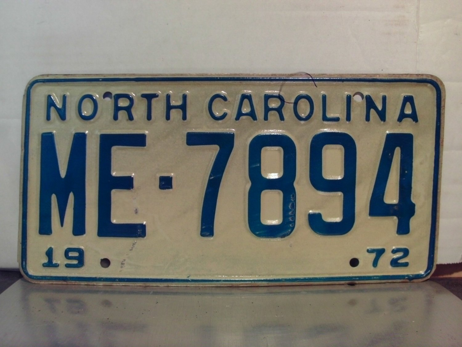 1972 North Carolina NC Passenger YOM License Plate ME-7894 EX-U