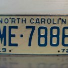 1972 North Carolina NC Passenger YOM License Plate ME-7886 Mint
