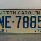 1972 North Carolina NC Passenger YOM License Plate ME-7885 Mint