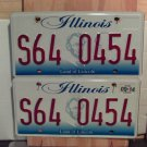 2014 Illinois IL License Plate Tag S64-0454 Pair