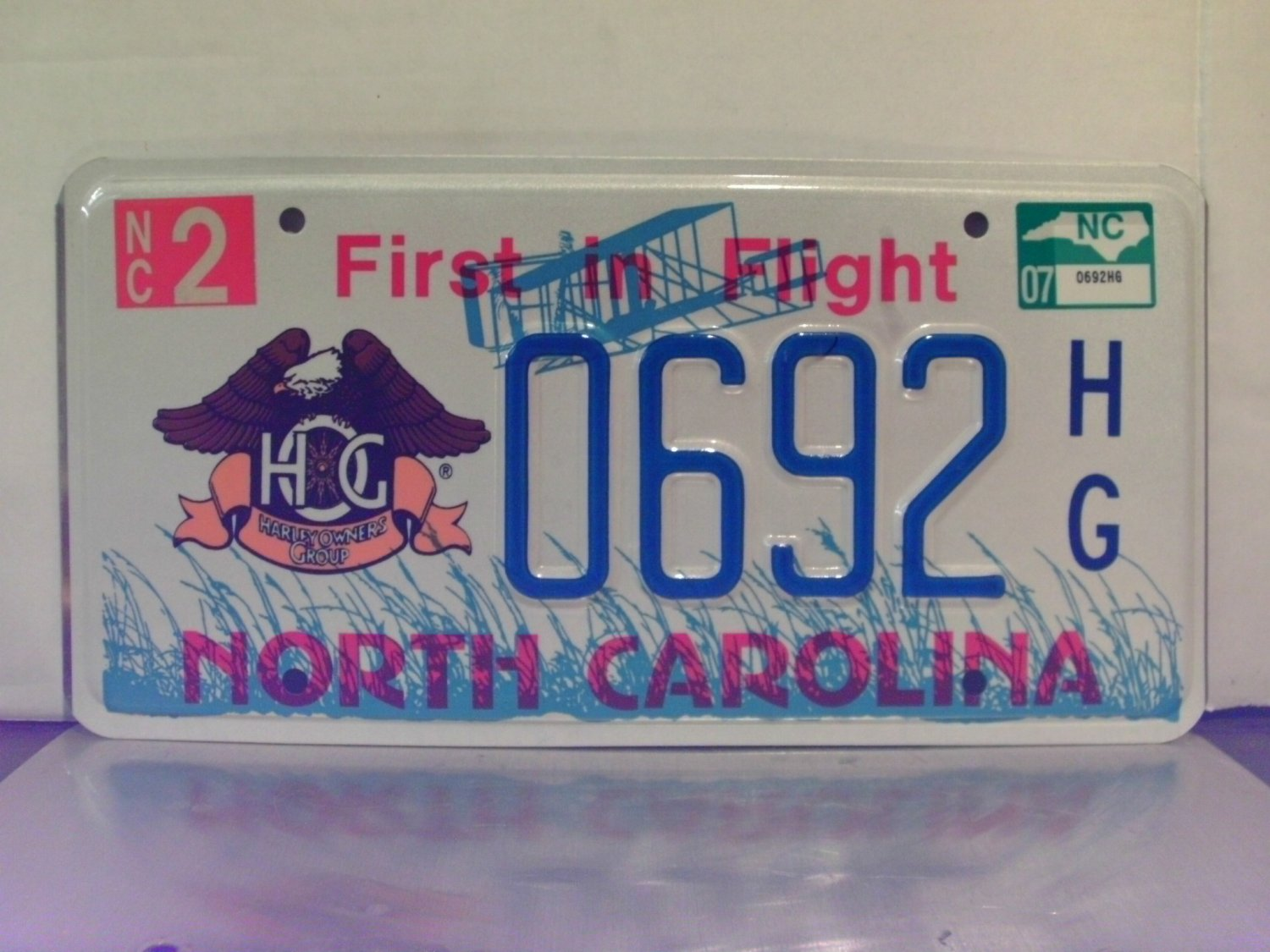 2007 North Carolina NC Harley Owners Group HOG License Plate Tag #0692HG Mint!