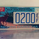 2005 North Carolina NC Rocky Mtn Elk Foundation License Plate Tag #0200EF