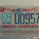 1999 North Carolina NC UNC License Plate Tag #U0957 Bicentennial Base