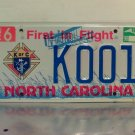 1998 North Carolina NC Knights of Columbus License Plate Tag #K001 Very First One