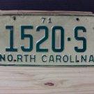 1971 North Carolina Truck License Plate NC #1520-S