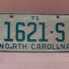 1971 North Carolina Truck License Plate NC #1621-S