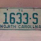 1971 North Carolina Truck License Plate NC #1633-S