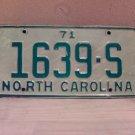 1971 North Carolina Truck License Plate NC #1639-S