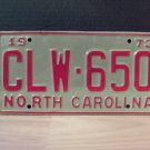 1973 North Carolina YOM License Plate Tag NC #CLW-650