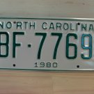 1980 North Carolina Rat Rod License Plate Tag NC #BF-7769 YOM