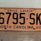 1960 North Carolina Rat Rod License Plate Tag NC #6795-SK YOM