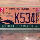 2012 North Carolina NC Blue Ridge Parkway License Plate Tag #K534BP Rare Blue Ink