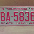 1997 North Carolina Original License Plate NC BA-5836 Mint Unissued