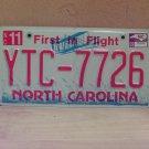 2009 North Carolina NC License Plate Tag YTC-7726