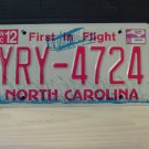 2009 North Carolina NC License Plate Tag YRY-4724