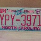 2009 North Carolina NC License Plate Tag YPY-3971