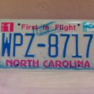 2008 North Carolina NC Blue Letter License Plate Tag #WPZ-8717 EX-N