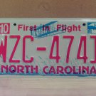 2008 North Carolina NC Red Letter License Plate Tag WZC-4741 EX-N