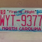 2008 North Carolina NC Red Letter License Plate Tag WYT-9377 EX-N