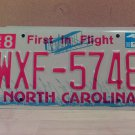 2008 North Carolina NC Red Letter License Plate Tag WXF-5748 EX-N