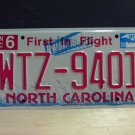 2008 North Carolina NC Red Letter License Plate Tag WTZ-9401 EX-N