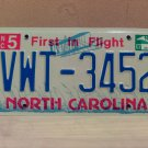 2007 North Carolina NC License Plate Tag #VWT-3452 EX-N