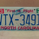 2007 North Carolina NC License Plate Tag #VTX-3491 EX-N