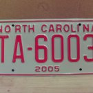 2005 North Carolina Taxi License Plate NC #TA-6003