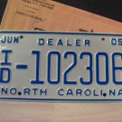 2005 North Carolina Independent Dealer License Plate NC #ID-102306