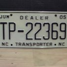 2005 North Carolina Dealer Transporter License Plate NC #TP-22369