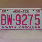 2005 North Carolina Weighted Truck License Plate NC #BW-9275 Mint!
