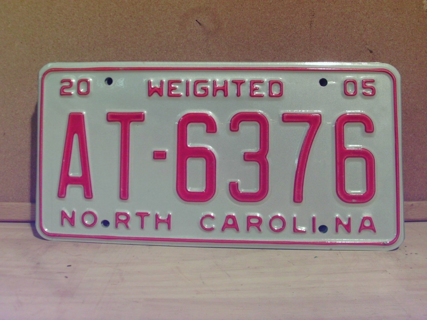 2005 North Carolina Weighted Truck License Plate NC #AT-6376
