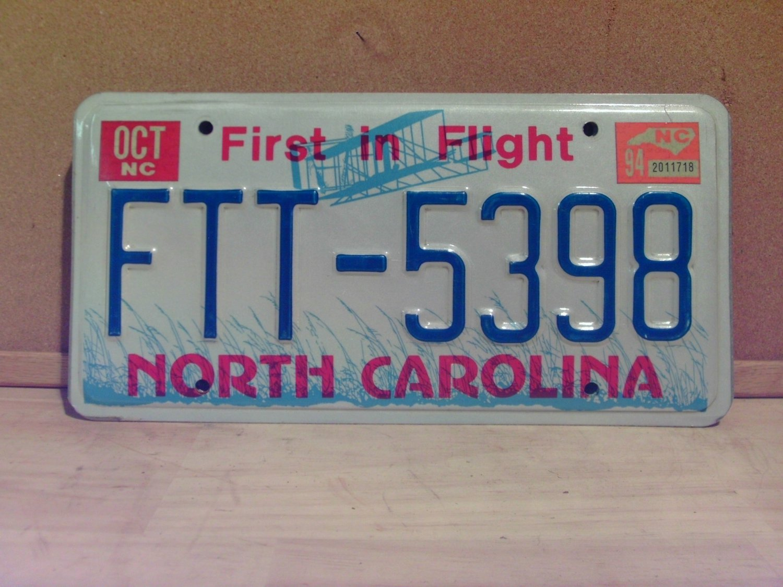 1994 North Carolina License Plate Tag NC FTT-5398