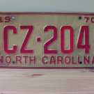 1970 North Carolina License Plate NC #CZ-204