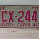 1970 North Carolina License Plate NC #CX-244