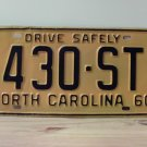 1960 North Carolina Rat Rod License Plate Tag NC #430-ST YOM