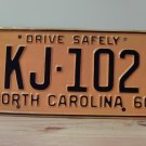 1960 North Carolina Rat Rod License Plate Tag NC #KJ-102 YOM