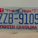 2012 North Carolina License Plate NC ZZB-9109