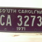 1971 South Carolina SC License Plate Tag CA-3273