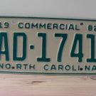 1982 North Carolina Truck YOM License Plate NC AD-1741