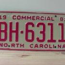 1981 North Carolina Truck YOM License Plate NC BH-6311