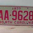 1977 North Carolina Truck YOM License Plate NC AA-9628