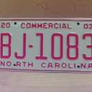 2003 North Carolina NC Commercial License Plate Mint Dated BJ-1083