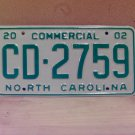 2002 North Carolina NC Commercial Truck License Plate Mint Dated CD-2759