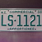 2000 North Carolina Apportioned Truck License Plate Mint NC #LS-1121