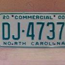 2000 North Carolina Commercial Truck License Plate Mint NC #DJ-4737