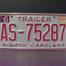 1999 North Carolina NC Trailer License Plate Mint Stickered #AS-75287