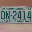 1998 North Carolina NC Commercial Truck License Plate Large '19' Mint #DN-2414